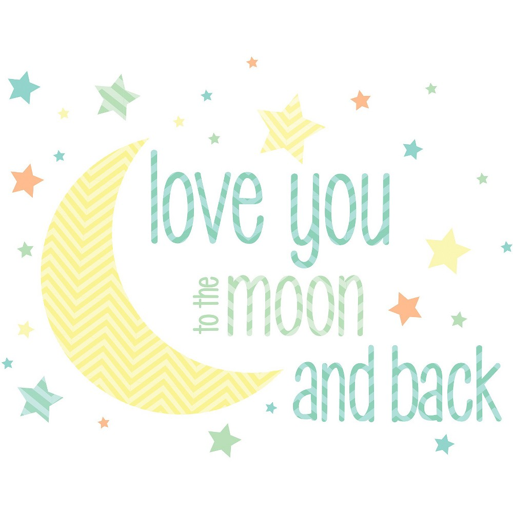 Image of WallPops! I Love You To The Moon Wall Wishes - Yellow/Blue