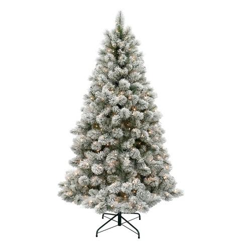 Christmas Tree With Lights.6 5ft Pre Lit Artificial Christmas Tree Flocked Douglas Fir Clear Lights Wondershop