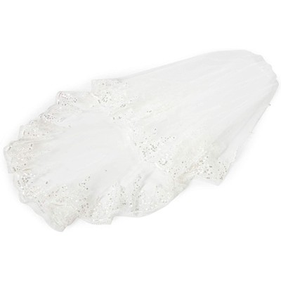 Sparkle and Bash 2 Tier Veil for Bride, White Lace Bridal Wedding Veil (34 In)