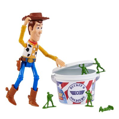 Fisher-Price Disney Toy Story Figure Set | 10 Inch Woody & 20 Army Men In Bucket