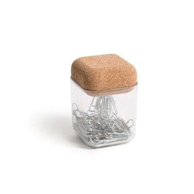 U Brands Magnetic Paper Clip Holder Natural Cork Top