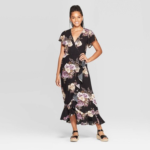 Women's Floral Print Short Sleeve Deep V-Neck Wrap Maxi Dress - Xhilaration™ Black - image 1 of 2