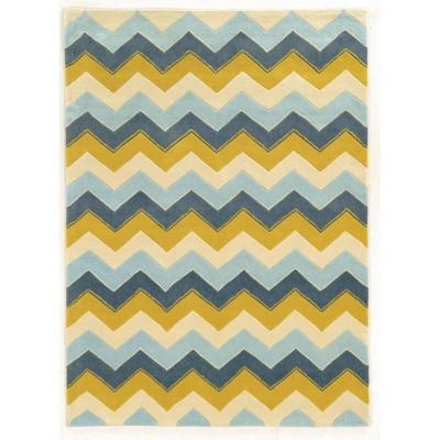 5'x7' Trio Collection Chevron Area Rug Blue/Yellow - Linon