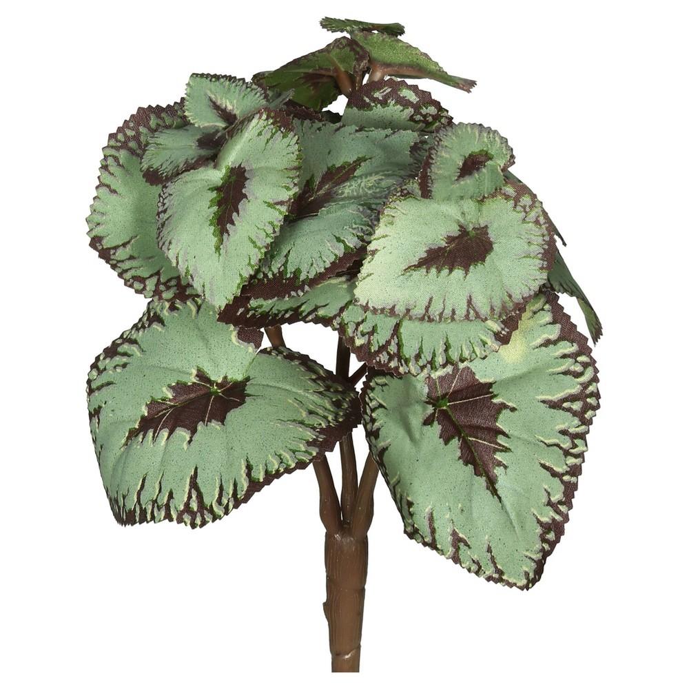 Image of Artificial (Pk/3) Begonia Bush (8) Green/Burgundy - Vickerman