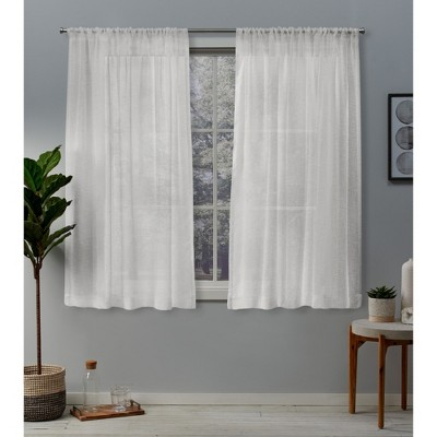 Set of 2 Belgian Textured Linen Rod Pocket Sheer Window Curtain Panels - Exclusive Home
