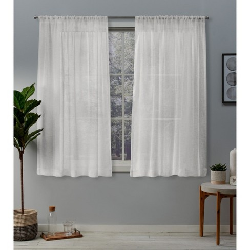 Belgian Texted Linen Rod Pocket Sheer Window Curtain Panels Pair - Exclusive Home - image 1 of 2