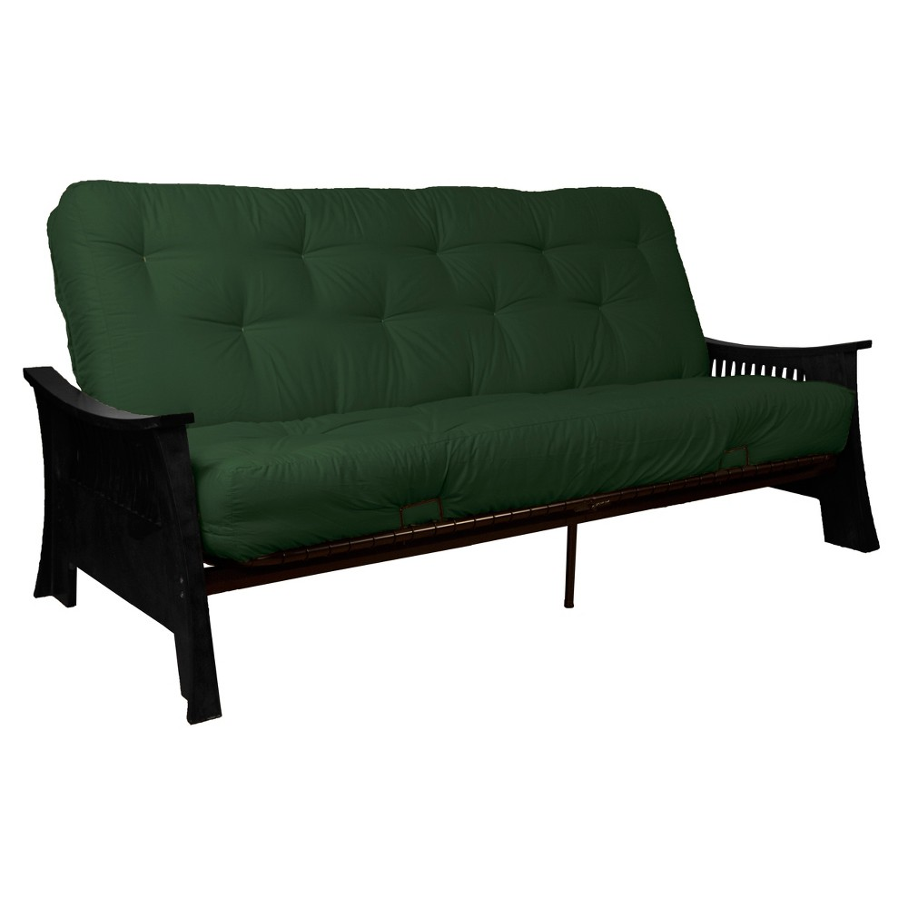 "Shanghai 8"" Cotton/Foam Futon Sofa Sleeper - Black Wood Finish - Forest Green - Queen Size - Epic Furnishings, Black Green"