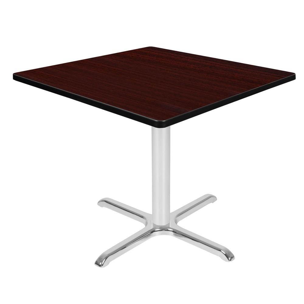 36 34 Via Square X Base Dining Table Mahogany Chrome Regency