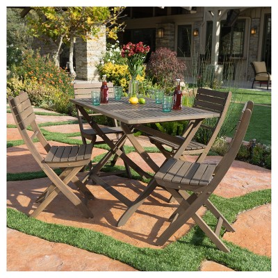 Positano 5pc Square Acacia Wood Patio Foldable Dining Set - Gray Finish - Christopher Knight Home