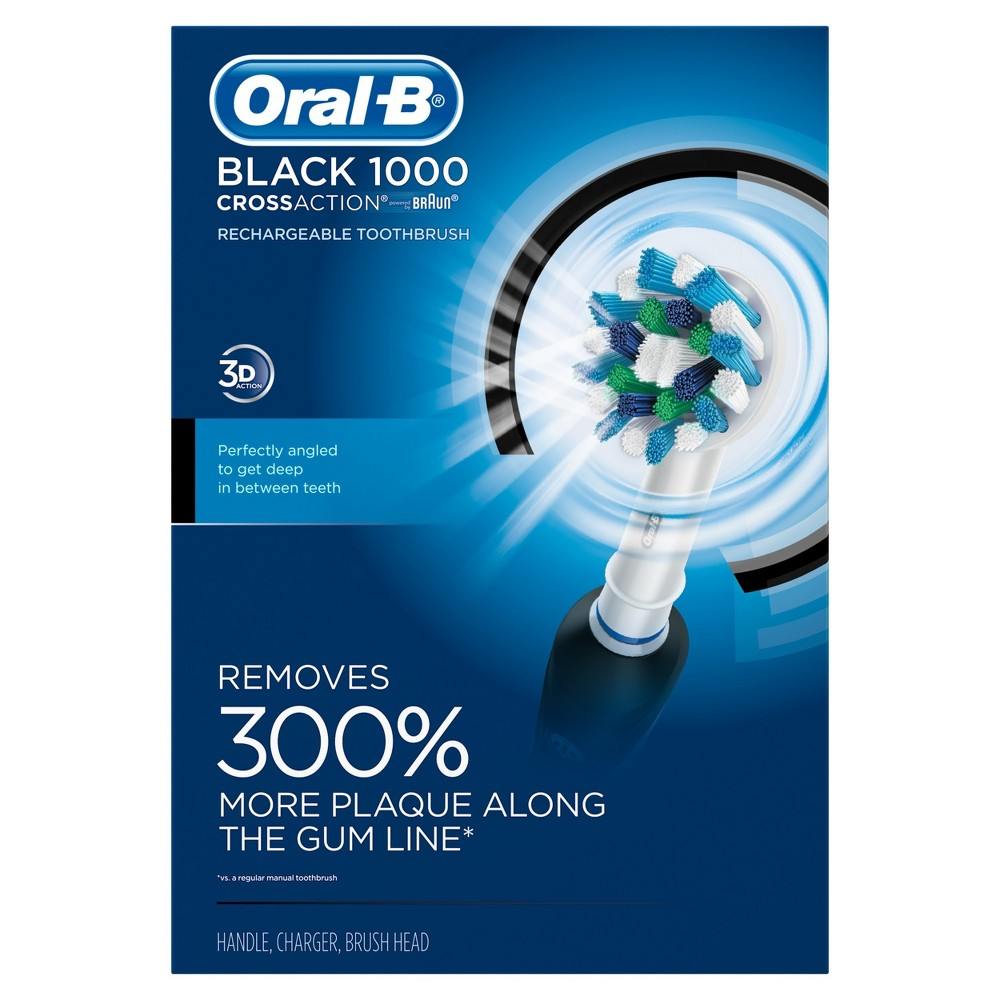 Image of Oral-B Black Pro Crossaction 1000 Rechargeable Electric Toothbrush