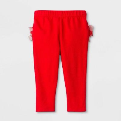 Baby Girls' Ruffle Leggings - Cat & Jack™ Red 0-3M
