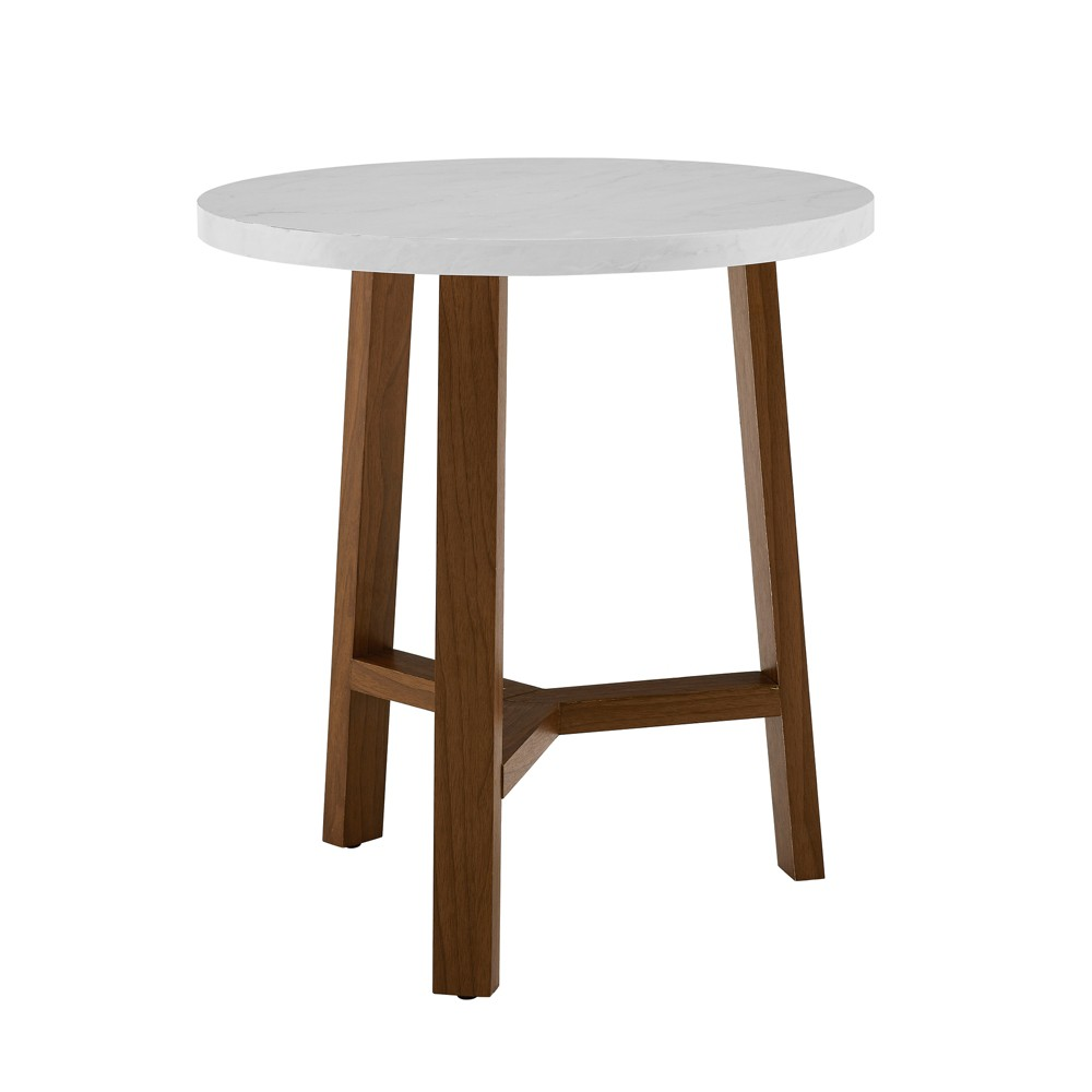 """Image of """"20"""""""" Round Side Table White Marble/Acorn - Saracina Home, White Faux Marble/Acorn"""""""