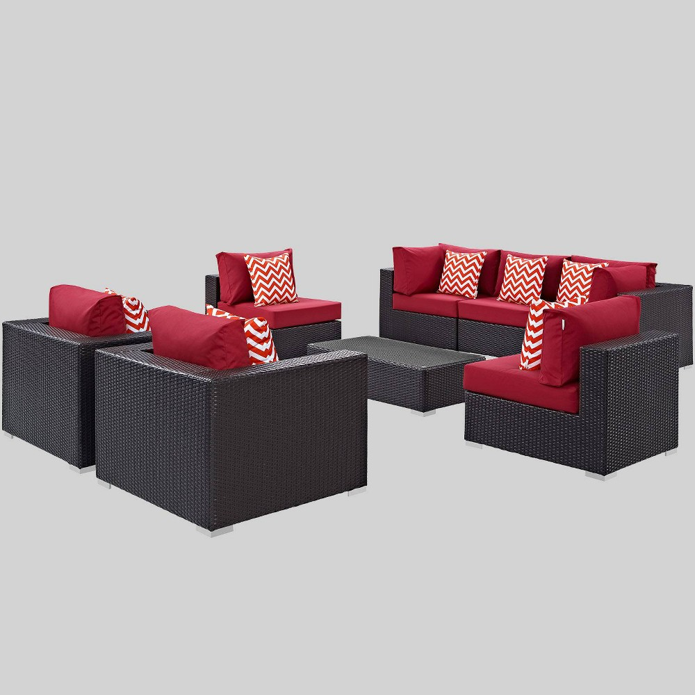 Convene 8pc Outdoor Patio Sectional Set - Red - Modway