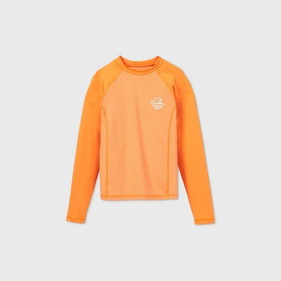 Boys' Long Sleeve Raglan Wave Rash Guard Swim Shirt - art class™ Orange