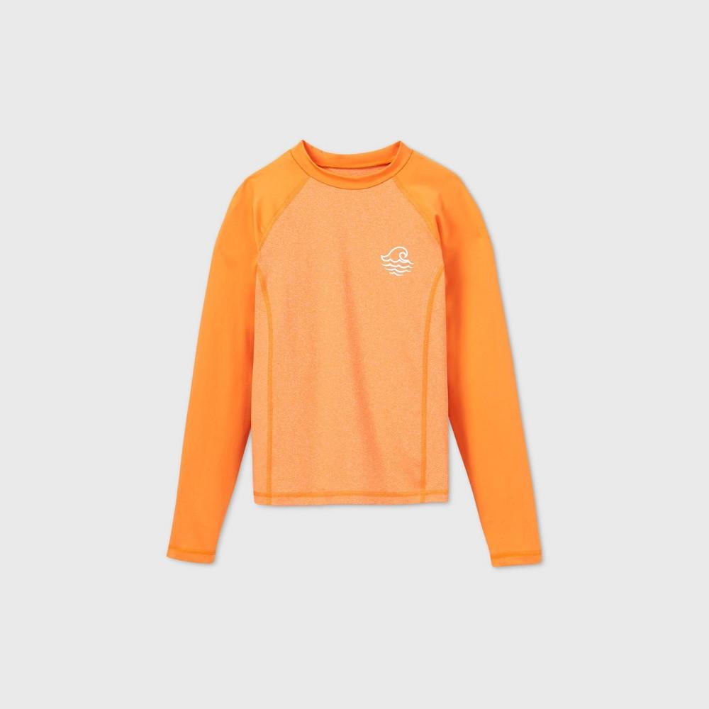 Coupons Boys' Long Sleeve Raglan Wave Rash Guard Swi Shirt - art class™ Orange
