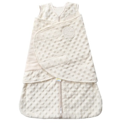 HALO SleepSack Plushy Dot Velboa Swaddle - Cream - Newborn