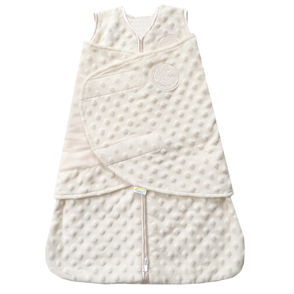 Halo SleepSack Plushy Dot Velboa Swaddle - Cream (Ivory) - Newborn