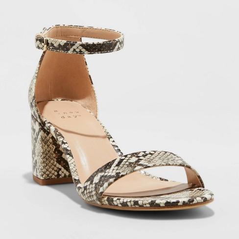 Women's Michaela Snake Print Mid Block Heel Sandal - A New Day™ - image 1 of 3