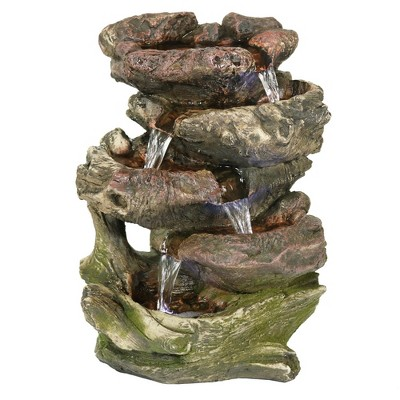 """Sunnydaze Indoor Decorative Calming 5-Step Rock Falls Waterfall Tabletop Water Fountain with LED Lights - 14"""""""