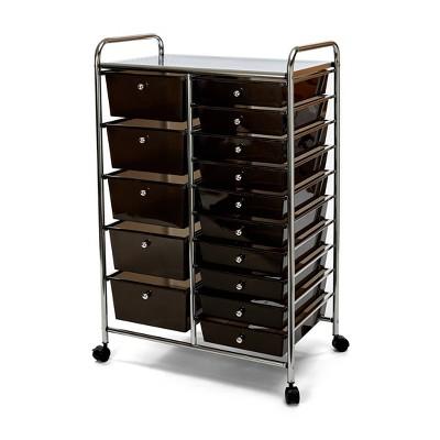 Seville Classics 15 Drawer Steel Organizer Wheeled Cart Black