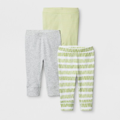 Baby Girls' 3pk Blooms & Sprouts Pants - Cloud Island™ Heather 0-3M