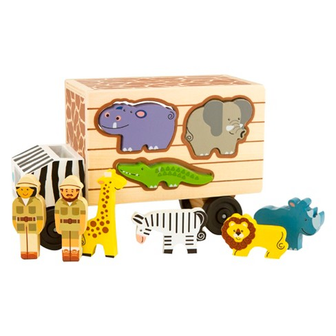 Melissa & Doug Animal Rescue Shape-Sorting Truck - Wooden Toy With 7 Animals and 2 Play Figures - image 1 of 3
