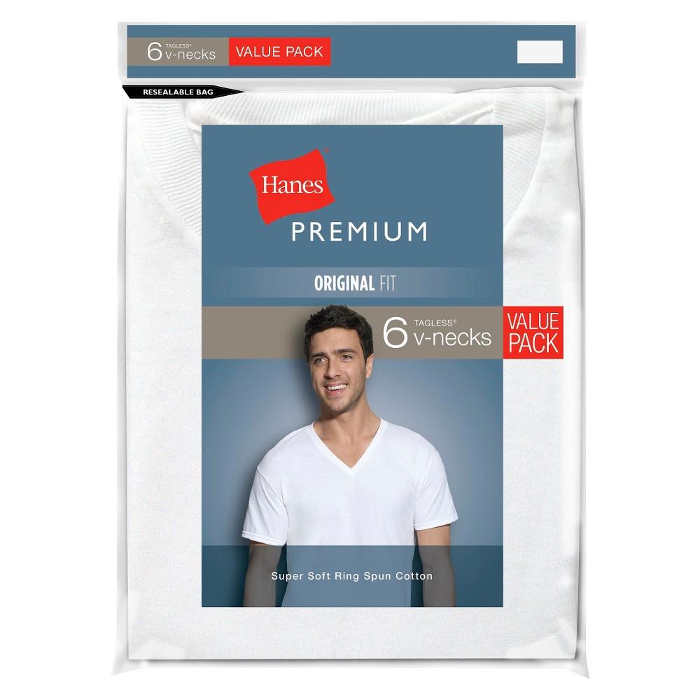 Hanes Premium Men 39 S 6pk V Neck T Shirt White Xl