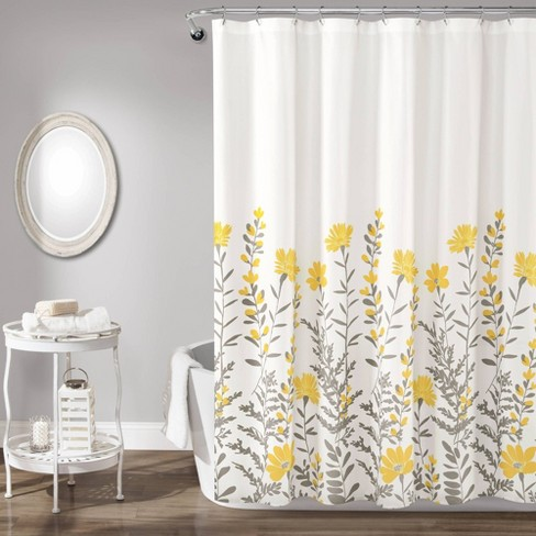 Aprile Shower Curtain Yellow Gray, Yellow And White Shower Curtains