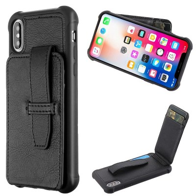 MYBAT Cartera Wallet Faux Leather Dual Layer Case w/card slot For Apple iPhone X/XS - Black