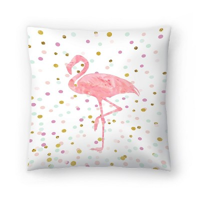 Americanflat Pink Flamingo On Confetti by Peach & Gold Throw Pillow