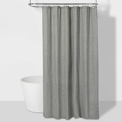 "72""x84"" Waffle Weave Shower Curtain Gray - Threshold™"