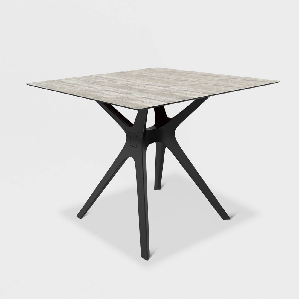 Vela S Square Washed Wood Patio Table - Black - Resol