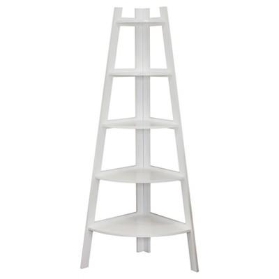 63  x 26.5  Five Tier Corner Ladder Shelf White - Danya B.