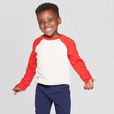 Toddler Boys' Fleece Raglan Sleeve Crew Sweatshirt - Cat & Jack™ Heather Oatmeal/Red 18 M