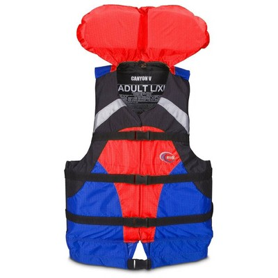 MTI Life Jackets Canyon V Padded Adult S/M Life Jacket Water Safety Vest, Red