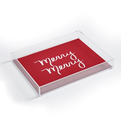 Lisa Argyropoulos Merry Merry Red Acrylic Tray - Deny Designs