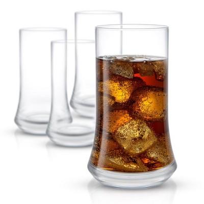 JoyJolt Cosmos Highball Glasses – Set of 4 Tall Glass Non-Lead Crystal Tall Drinking Glasses–18.5 oz