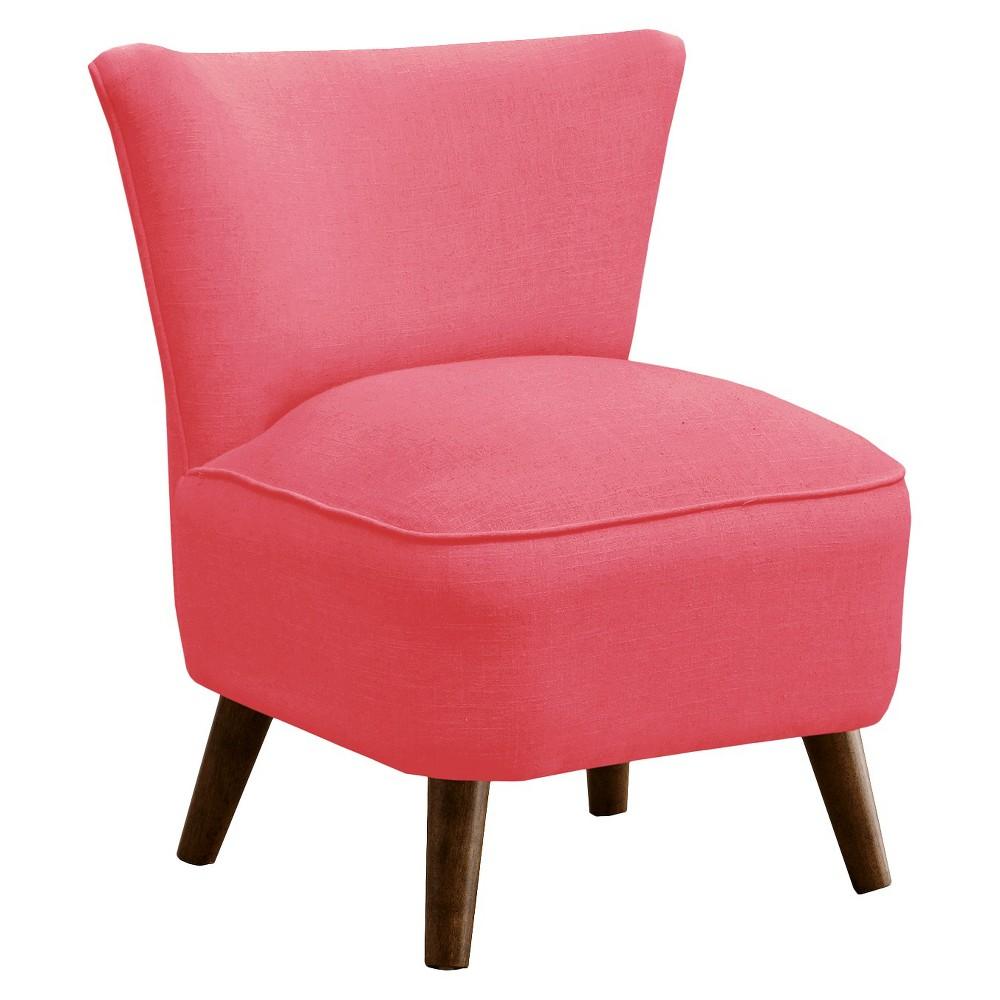 Skyline Custom Upholstered Mid Century Modern Armless Chair - Skyline Furniture, Linen Coral