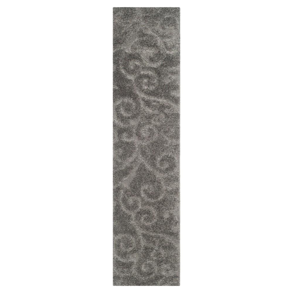 Gray Abstract Shag/Flokati Loomed Runner - (2'3X13' Runner) - Safavieh