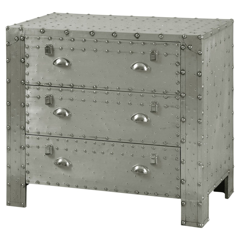 Industrial 3 Drawer Aluminum Chest with Chrome Rivet - Silver - Stylecraft