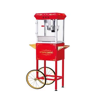 Great Northern Popcorn 8 oz. Foundation Style Popcorn Popper Machine Cart - Red