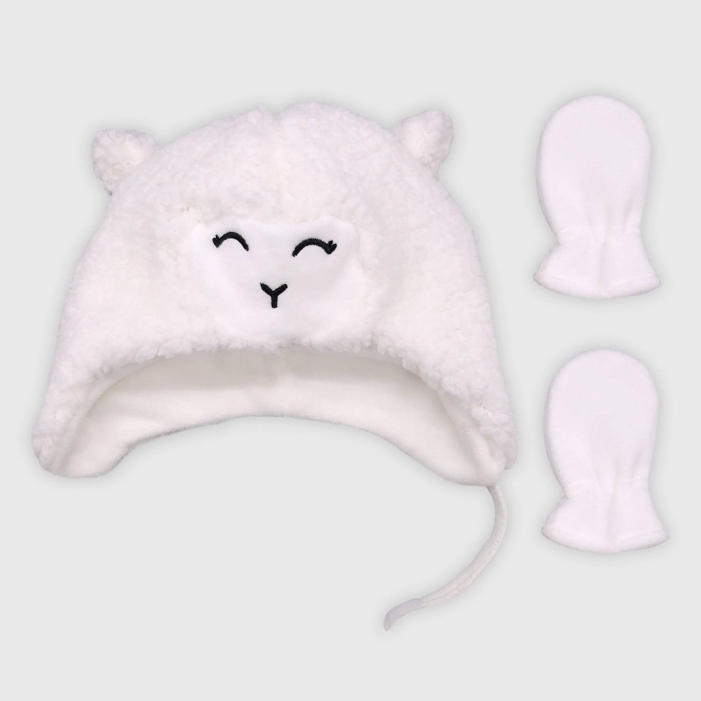 Image of Baby Girls' Hat And Glove Set - Cat & Jack White 0-6M, Girl's