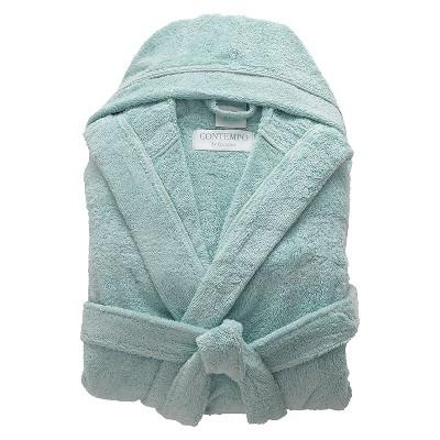 Turkish Terry Hood Bath Robe Ice Blue - Cassadecor