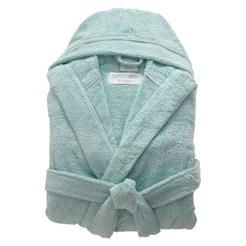 Kassatex Contempo Turkish Cotton Bath Robe - Ice Blue - image 1 of 2
