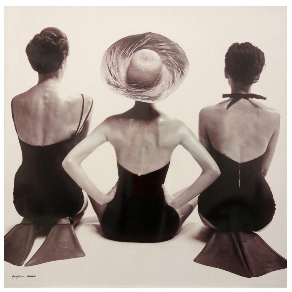 50 Three Women Print High Stretched Canvas Decorative Wall Art - StyleCraft, Multi-Colored