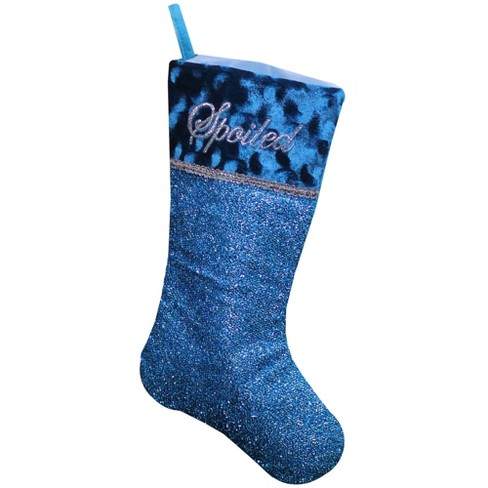 """Northlight 18"""" Metallic Blue and Silver Embroidered 'Spoiled' Christmas Stocking - image 1 of 2"""