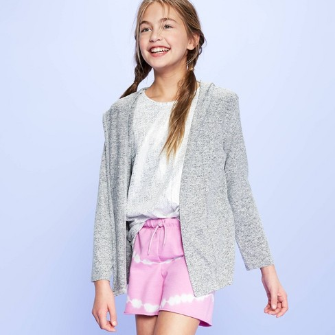 Girls' Foil Print Hooded Cardigan - More Than Magic™ Gray - image 1 of 3