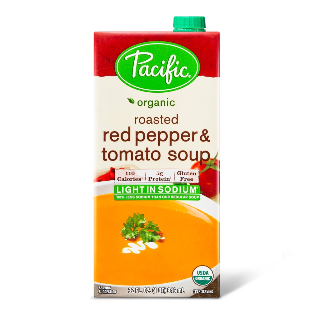 Pacific Foods Organic Low Sodium Roasted Red Pepper & Tomato Soup - 32oz