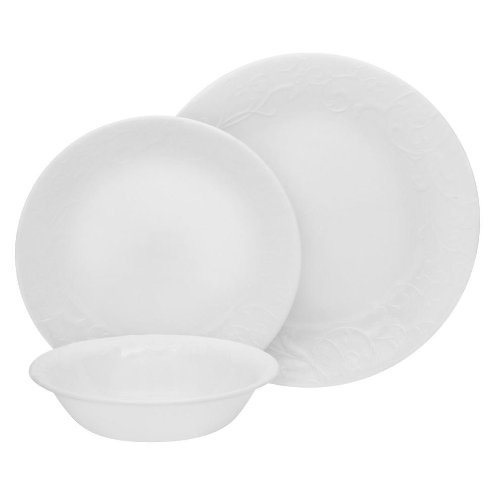 Image of Corelle 18pc Vitrelle Embossed Bella Faenza Dinnerware Set White