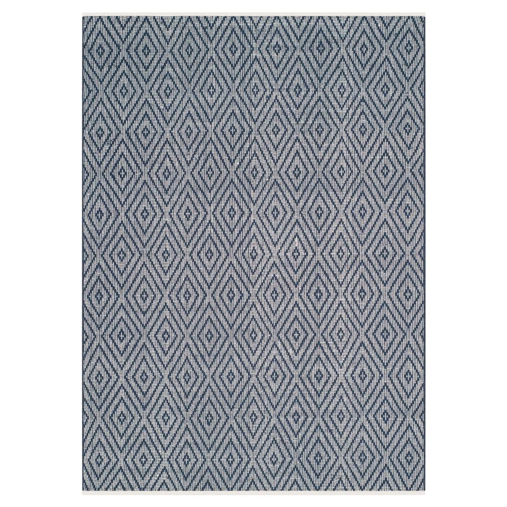 Navy/Ivory (Blue/Ivory) Diamond Flatweave Woven Area Rug 5'X8' - Safavieh